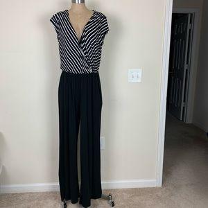 Pants - Pant Suit Romper L Spandex Black and White EUC